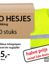 Fluo gele hesjes met bedrukking per 50 stuks